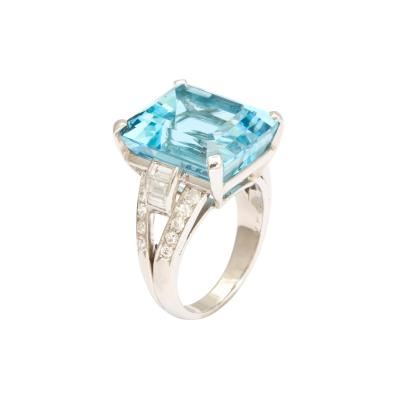 Van Cleef Arpels Aqua Diamond Ring in Platinum by Van Cleef Arpels Circa 1930s