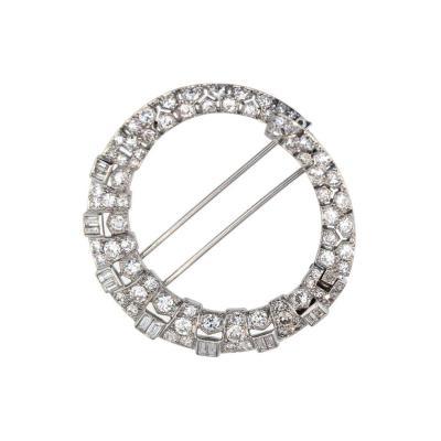 Van Cleef Arpels Art Deco Van Cleef Arpels Anneau Magique Diamond Platinum Brooch