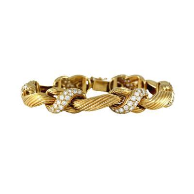 Van Cleef Arpels Braded 18K Gold Daimond Bracelet