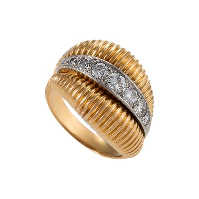 Van Cleef Arpels Diamond Platinum and Gold Ring