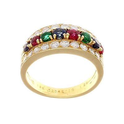 Van Cleef Arpels Emerald Ruby Sapphire Diamond Gold Ring