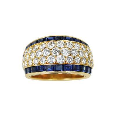 Van Cleef Arpels FRANCE VAN CLEEF ARPELS THREE ROW DIAMOND RING WITH INVISIBLY SET SAPPHIRES