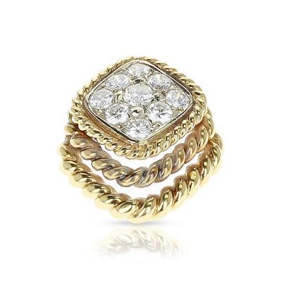 Van Cleef Arpels FRENCH VAN CLEEF ARPELS DIAMOND AND TWISTED GOLD PENDANT 18 KARAT YELLOW GOLD