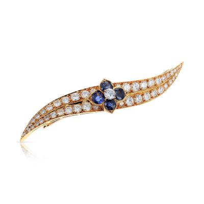 Van Cleef Arpels FRENCH VAN CLEEF ARPELS SAPPHIRE FLORAL AND DIAMOND PIN BROOCH 18K YELLOW