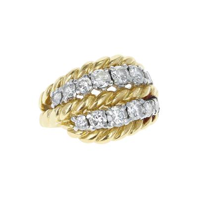 Van Cleef Arpels FRENCH VAN CLEEF ARPELS TWO ROW DIAMONDS AND TWISTED ROPE GOLD RING 18K