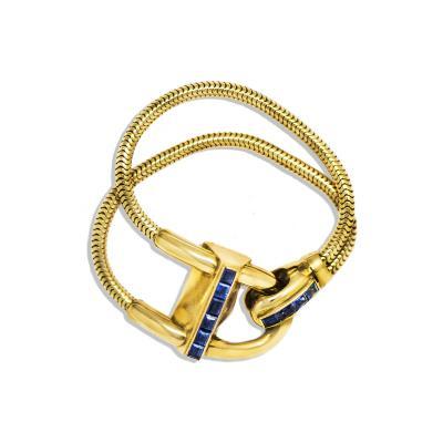 Van Cleef Arpels Iconic 1940s Van Cleef Arpels Sapphire 18kt Yellow Gold Cadenas Wristwatch