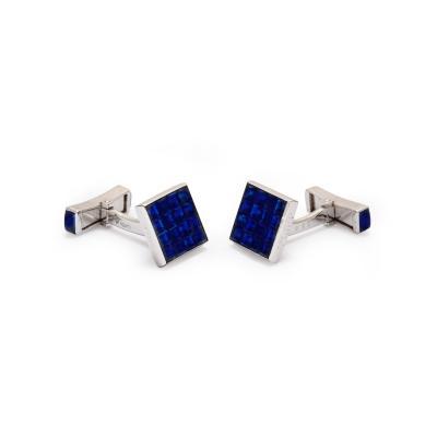 Van Cleef Arpels Invisibly Set Sapphire Platinum Cufflinks by Van Cleef Arpels