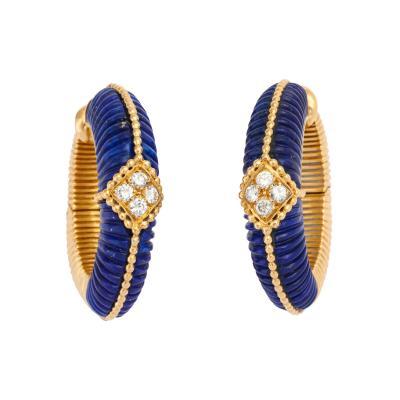 Van Cleef Arpels Lapis Diamond Hoop Earrings in 18K Gold by Van Cleef Arpels