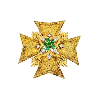 Van Cleef Arpels MALTESE CR 18K YELLOW GOLD DIAMOND AND EMERALD PENDANT AND BROOCH