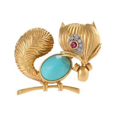 Van Cleef Arpels Mid 20th Century Turquoise Ruby Diamond and Gold Squirrel Brooch