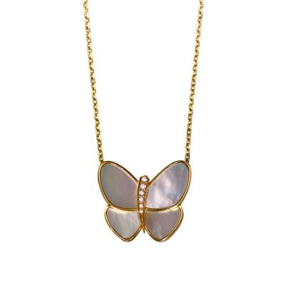 Van Cleef Arpels Mother of Pearl and Diamond Flying Beauties Pendant by Van Cleef Arpels