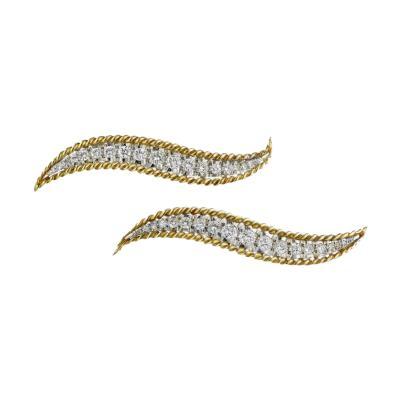 Van Cleef Arpels PLATINUM 18K YELLOW GOLD TWO DIAMOND MATCHING PINS 1 90CTTW BROOCH
