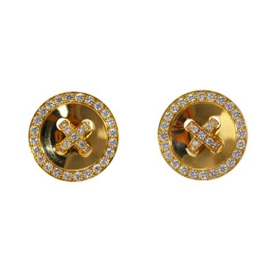 Van Cleef Arpels Pair of 18 Karat Gold and Diamond Earclips by Van Cleef Arpels France