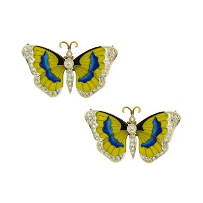 Van Cleef Arpels Pair of Butterfly Enamel Diamond Pins