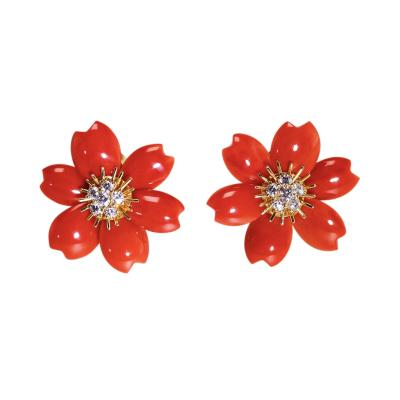 Van Cleef Arpels Pair of Coral and Diamond Rose de Noel Earclips by Van Cleef Arpels France