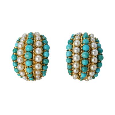 Van Cleef Arpels Pair of Turquoise and Cultured Pearl Earclips by Van Cleef Arpels circa 1970