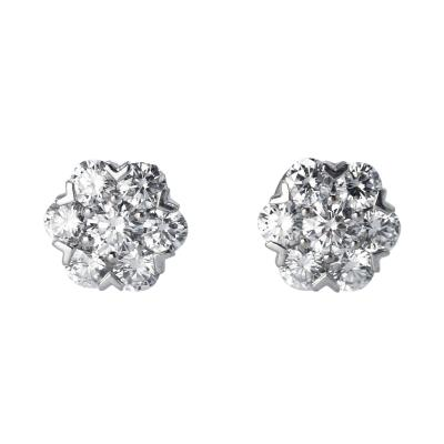 Van Cleef Arpels Pair of White Gold and Diamond Fleurette Earrings by Van Cleef Arpels