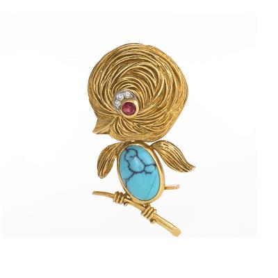 Van Cleef Arpels Paris Mid 20th Century Turquoise Ruby and Gold Singing Bird Brooch