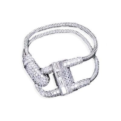 Van Cleef Arpels Rare Iconic 1940 Van Cleef Arpels Platinum Diamond Set Cadenas Bracelet Watch