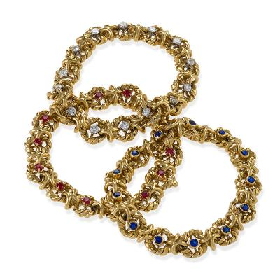 Van Cleef Arpels Three Gold Ruby Sapphire and Diamond Bracelets by Van Cleef Arpels