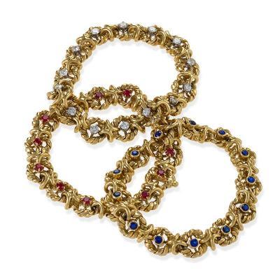 Van Cleef Arpels Three Gold Ruby Sapphire and Diamond Bracelets by Van Cleef Arpels