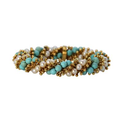 Van Cleef Arpels Turquoise and Cultured Pearl Bracelet by Van Cleef Arpels France circa 1970
