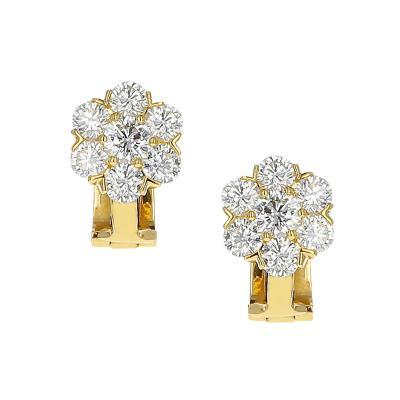 Van Cleef Arpels VAN CLEEF ARPELS 1 50 CARATS ROUND DIAMOND FLEURETTE EARRINGS 18K YELLOW GOLD