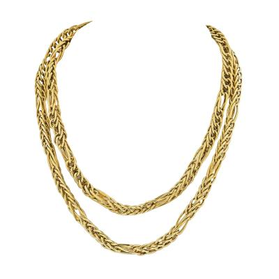 Van Cleef Arpels VAN CLEEF ARPELS 18K YELLOW GOLD 1970S LONG CHAIN VINTAGE NECKLACE