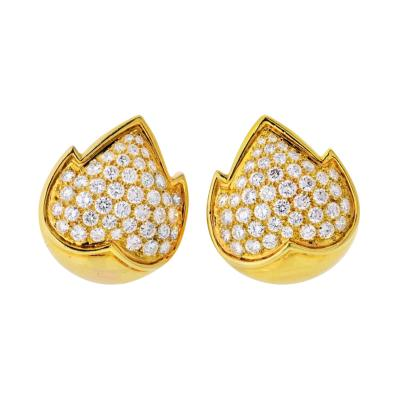 Van Cleef Arpels VAN CLEEF ARPELS 18K YELLOW GOLD 4 50 CARAT DIAMOND EARRINGS