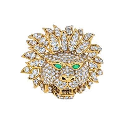 Van Cleef Arpels VAN CLEEF ARPELS 18K YELLOW GOLD DIAMOND LION HEAD MASK EMERALD EYES BROOCH