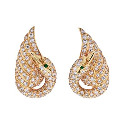 Van Cleef Arpels VAN CLEEF ARPELS 18K YELLOW GOLD DIAMOND SWAN EARRINGS
