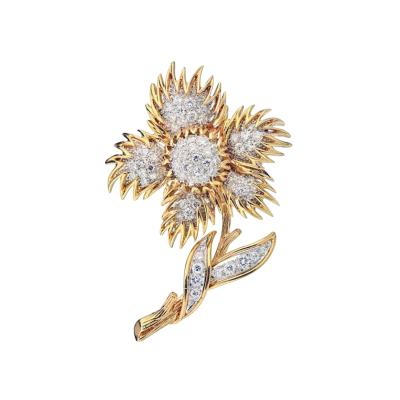 Van Cleef Arpels VAN CLEEF ARPELS 18K YELLOW GOLD FLOWER DIAMOND BROOCH