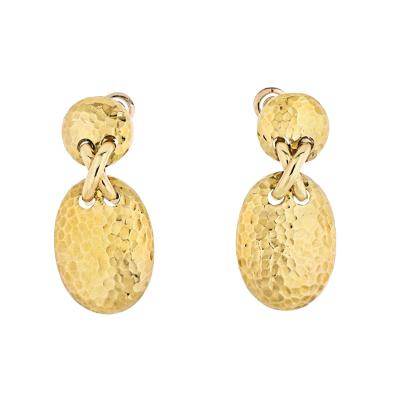 Van Cleef Arpels VAN CLEEF ARPELS 18K YELLOW GOLD HAMMERED FINISH OVAL MEDALLION EARRINGS