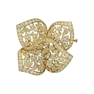 Van Cleef Arpels VAN CLEEF ARPELS 18K YELLOW GOLD STAR MOON FRENCH DIAMOND BROOCH