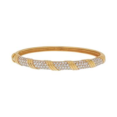Van Cleef Arpels VAN CLEEF ARPELS 18K YELLOW GOLD VINTAGE DIAMOND HINGED BANGLE BRACELET