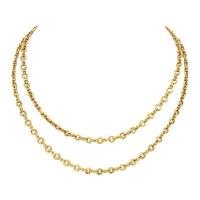 Van Cleef Arpels VAN CLEEF ARPELS 18K YELLOW GOLD VINTAGE HANDMADE LINK LONG CHAIN NECKLACE