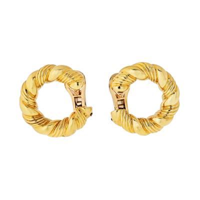 Van Cleef Arpels VAN CLEEF ARPELS 1970S 18K YELLOW GOLD TWISTED HOOP EARRINGS