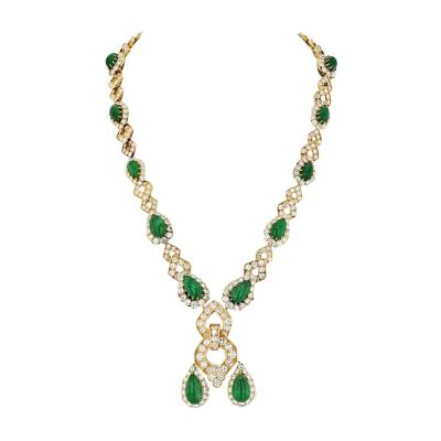 Van Cleef Arpels VAN CLEEF ARPELS 1970S GREEN EMERALD AND DIAMOND SAUTOIR CONVERTIBLE NECKLACE