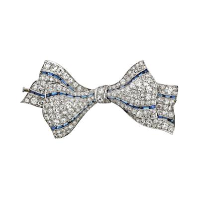 Van Cleef Arpels VAN CLEEF ARPELS ART DECO PLATINUM SAPPHIRE DIAMOND BOW PIN BROOCH
