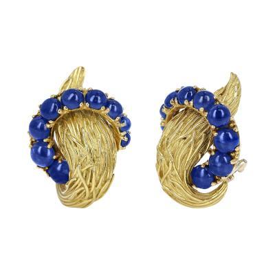 Van Cleef Arpels VAN CLEEF ARPELS BLUE SAPPHIRE CABOCHON 18K TEXTURED GOLD EARRINGS