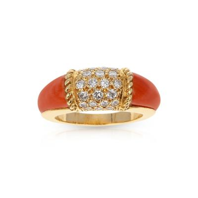 Van Cleef Arpels VAN CLEEF ARPELS CORAL AND 7 ROW DIAMOND STACKING PHILIPPINE RING 18K YELLOW