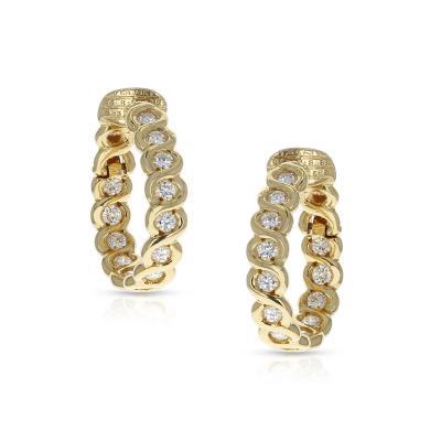 Van Cleef Arpels VAN CLEEF ARPELS DIAMOND AND GOLD HOOP EARRINGS