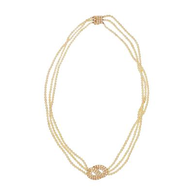 Van Cleef Arpels VAN CLEEF ARPELS FRANCE 18K YELLOW GOLD MULTISTRAND PEARL AND DIAMOND NECKLACE