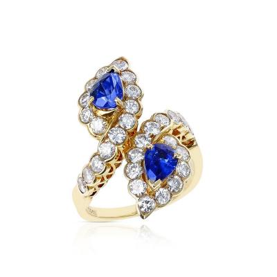 Van Cleef Arpels VAN CLEEF ARPELS FRENCH DOUBLE PEAR SHAPE SAPPHIRE AND DIAMOND COCKTAIL RING