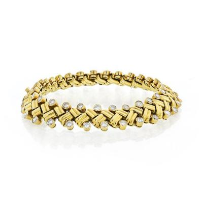 Van Cleef Arpels VAN CLEEF ARPELS GRAIN OF RICE 18K YELLOW GOLD DIAMOND BRACELET