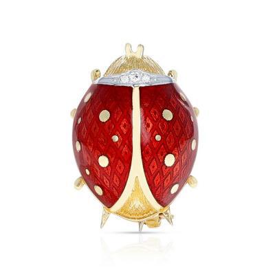 Van Cleef Arpels VAN CLEEF ARPELS LADYBUG BROOCH PIN WITH DIAMONDS 18 KARAT YELLOW GOLD