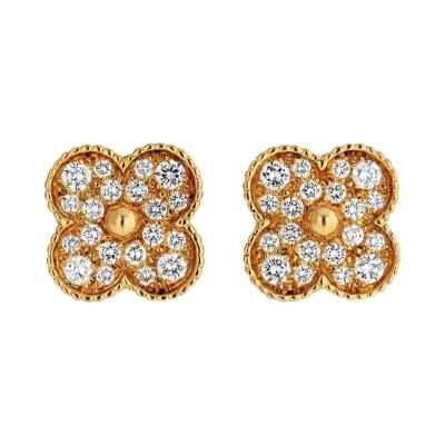 Van Cleef Arpels VAN CLEEF ARPELS MAGIC ALHAMBRA 18K YELLOW GOLD 2 22 CARAT DIAMOND EARRINGS