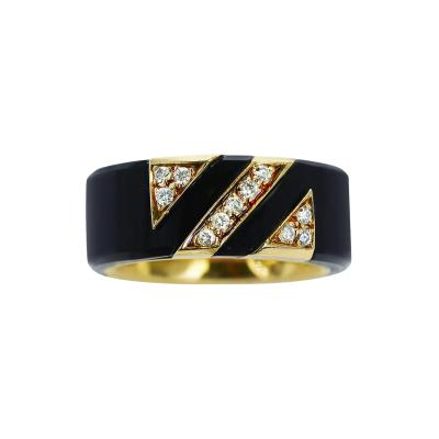 Van Cleef Arpels VAN CLEEF ARPELS ONYX AND DIAMOND BAND RING 18K YELLOW GOLD