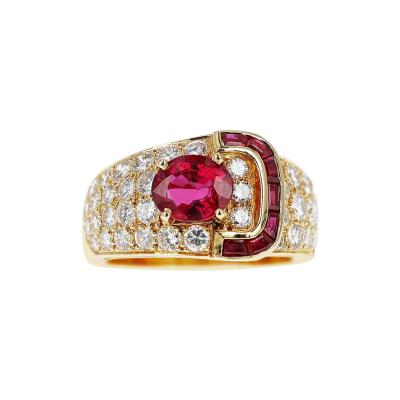 Van Cleef Arpels VAN CLEEF ARPELS OVAL RUBY AND DIAMOND RING WITH INVISIBLY SET RUBIES 18K
