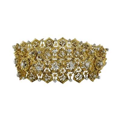 Van Cleef Arpels VAN CLEEF ARPELS PLATINUM 18K YELLOW GOLD SNOWFLAKE DIAMOND BRACELET